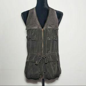 Acne Dark Gray Silk Zip Up Cargo Vest